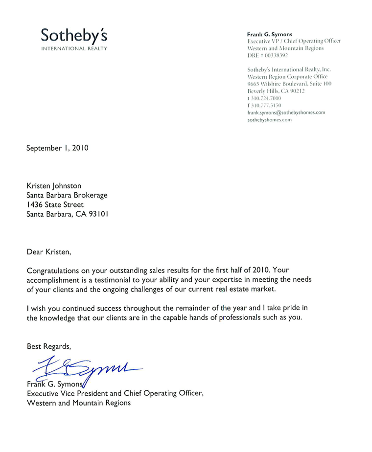 This letter commends Kris Johnston for outstanding sales results.